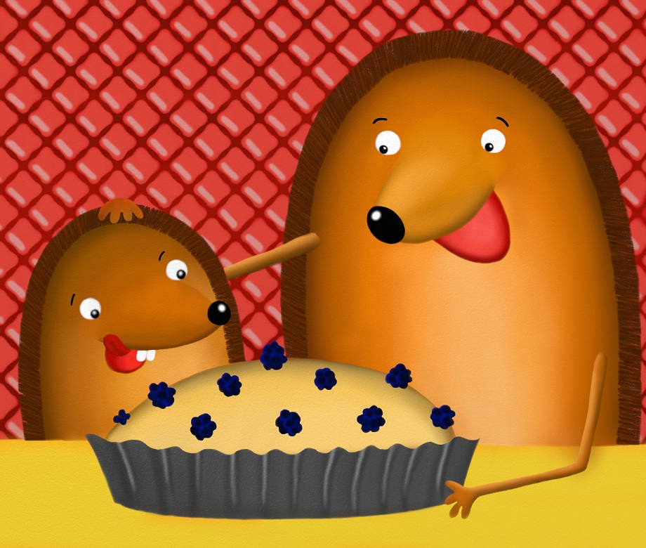 Once the cake was ready, they decided to invite all the hedgehog's friends for a party, to enjoy the cake together.