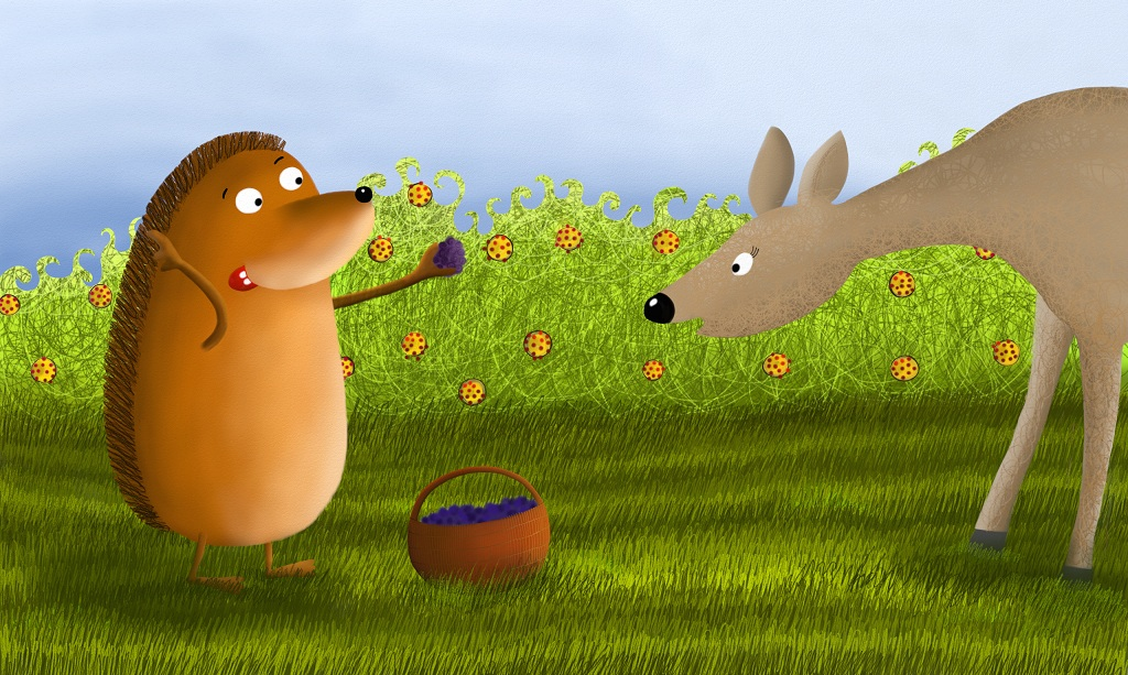 Still determined, the hedgehog went to the meadow where he was expecting to meet his friend the deer. The deer was always there at this time of day.
