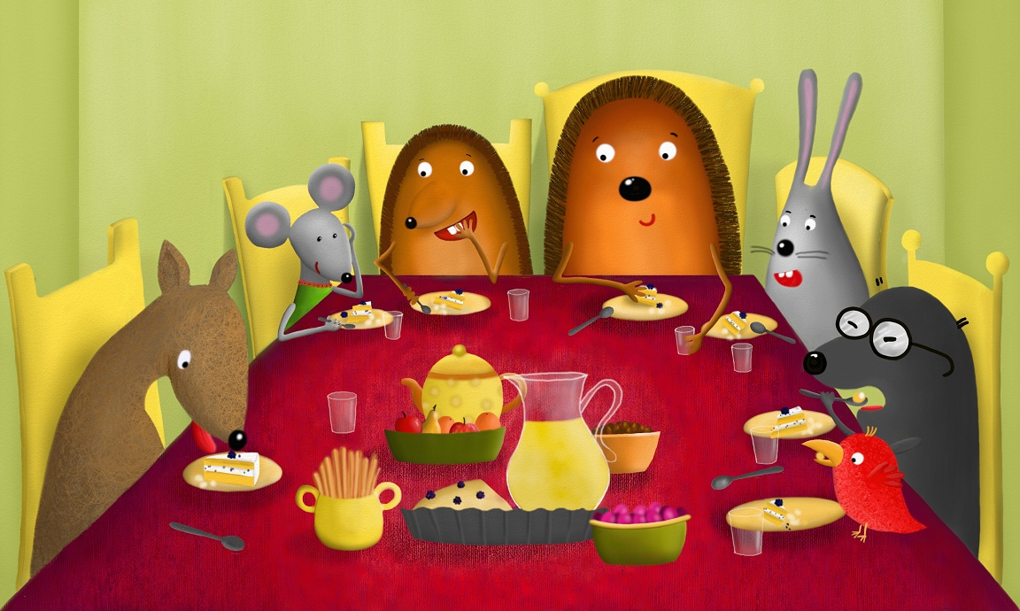 All the hedgehog's friends came to the party - the mole and the bird, the mouse, the deer, and the rabbit.