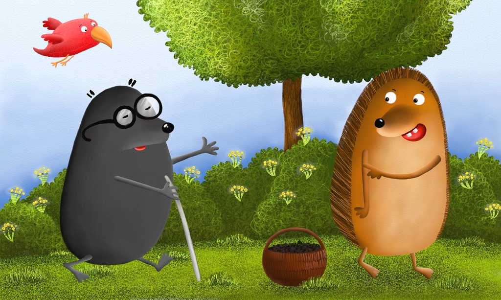 The hedgehog asked the mole to help him put the blackberries on his spikes.