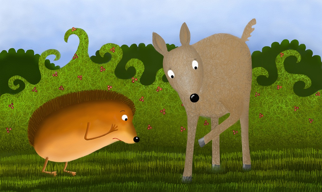 The deer really wanted to help the hedgehog, but with his hooves, he could not even lift the blackberries!