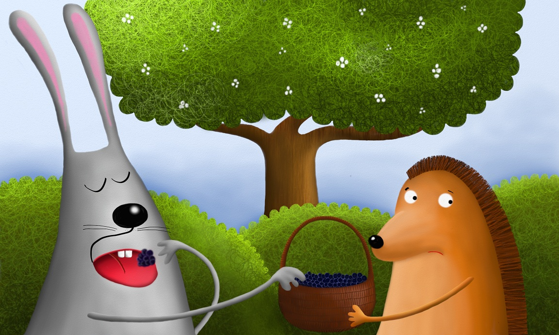 But instead of helping the hedgehog, the rabbit just started eating the blackberries in the hedgehog's basket!