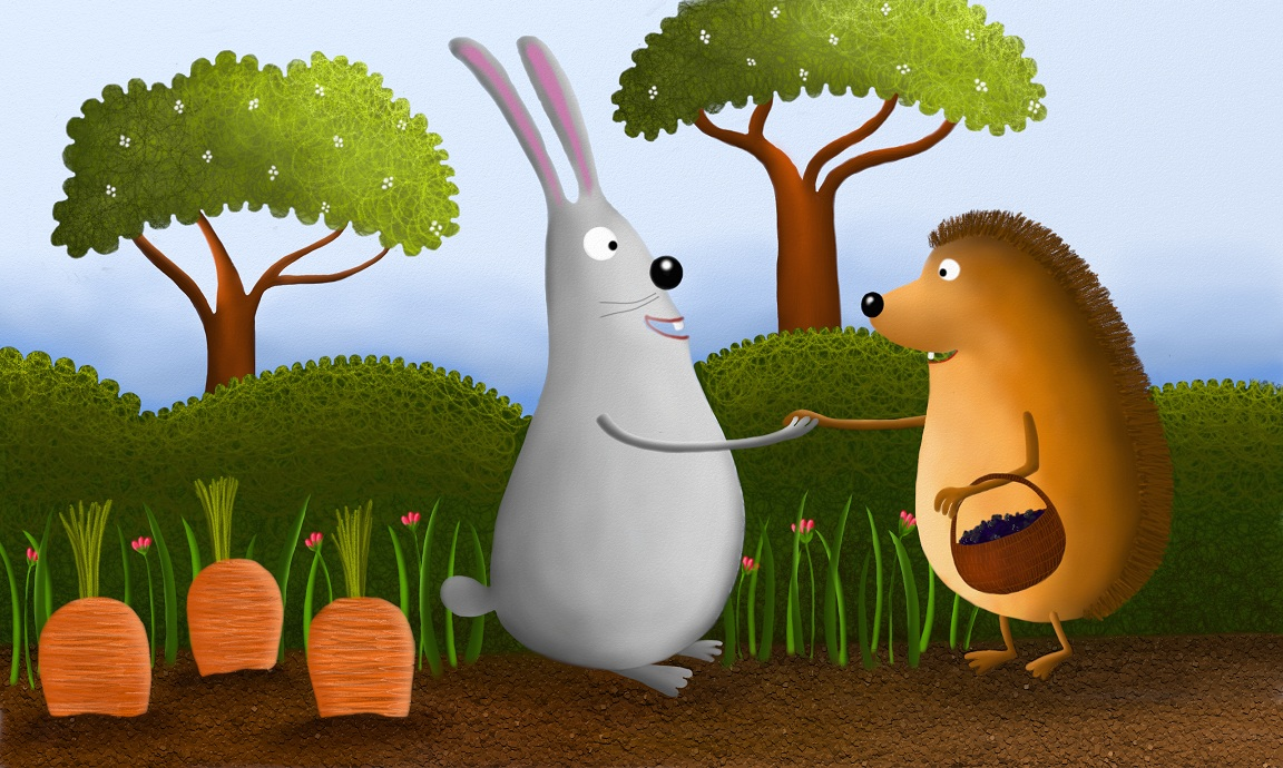 So the hedgehog went to the rabbit. The rabbit listened to the hedgehog while he explained his problem.